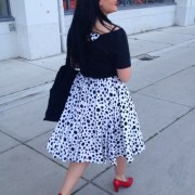 black and white 60s sixties vintage dress polkadot