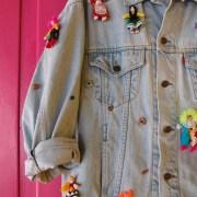 embellished vintage levi's levis denim jacket denimlover unique pimped up cycled dolls peru handmade fun crazy oversized colorful
