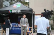 Noticias Univision reporter Alejandro Mendoza reported live from the City College campus