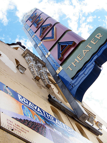 A view of the Brava Theater sign.