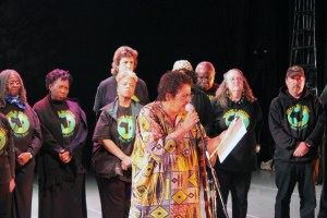 Avotcja joined the Vukani Mawethu choir to recite her poetry.