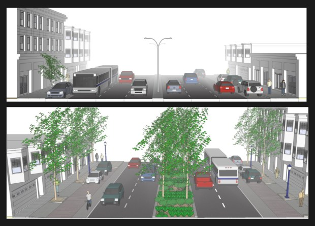 Plans for how Cesar Chavez Street would look before and after the redesign. (Courtesy of SF Planning Department.)