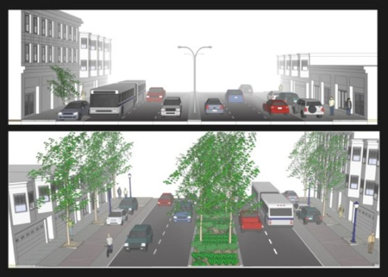 Plans for how Cesar Chavez Street will look before and after the redesign, reducing six lanes of traffic to four. While the sidewalks will not be widened, the median will be extended from a 4-foot concrete median to a 14-foot planted median.