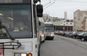 Muni driver Larry McKinney finishes his break before starting his outbound 22-Fillmore drive.