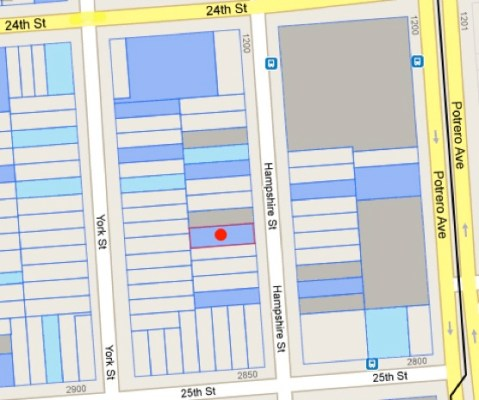 In September, City planners finished a three-year project to evaluate historic resources in the South Mission. The Treat home (marked by the red dot) and other historically significant buildings in the area are shaded the darker blue. Lighter blue shading means the buildings are potentially significant; buildings that are decidedly not historically significant are lighter...