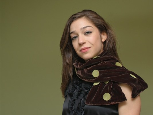 Monica Frailing in a brown silk/rayon velvet scarf with army green ultra-suede appliques by Elina Tachkova of ADS Hats.