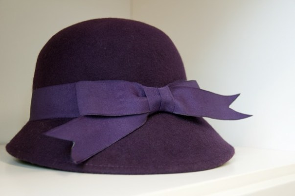 Tucan purple felt bell cloche with grosgrain ribbon.