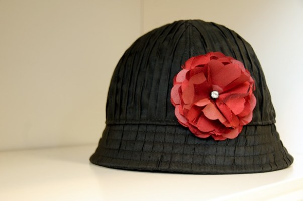 ADS water proof rain hat with hand-made flower by Tachkova.