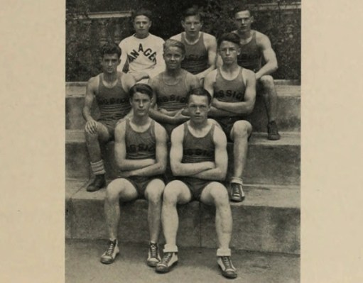 The 130lb wrestling team. Wears very short shorts. Looks grim. Has cute little shoes.