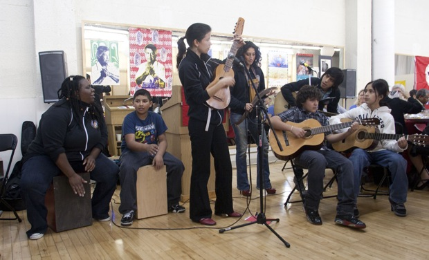 The performance of the Music National Service team of mentors and kids, at the annual Cesar Chavez breakfast in the Missin.