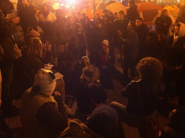 The Occupy SF General Assembly discussing whether to move to the Mission or not