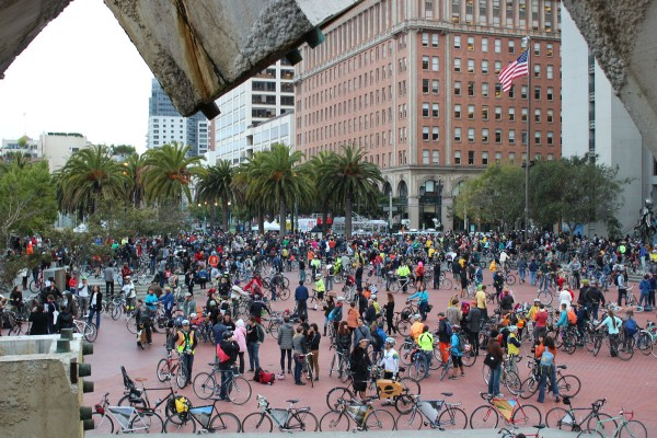 Thousands of cyclists gathered Friday evening for the 20th anniversary ride of Critical Mass in San Francisco. Photo by Mateo Hoke.