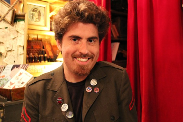Chris Gomez of 826 Valencia St. rocks a military-inspired jacket.