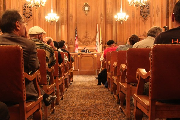 Full house in the City Hall chamber as the Board of Supervisors prepares for public comment. Photo by Yousur Alhlou.