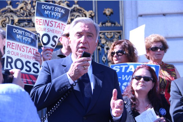 Former San Francisco Mayor Art Agnos tells the crowd why he stands by the Sheriff. Photo by Alana Levinson.