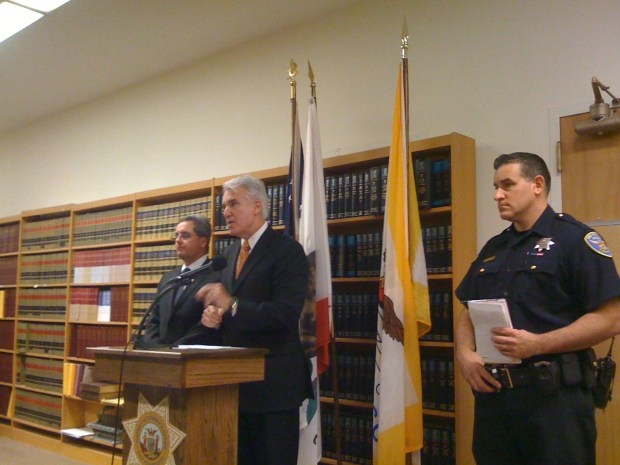 District Attorney George Gascón, City Attorney Dennis Herrera, and SFPD spokesman Carlos Manfredi address the press Tuesday afternoon.