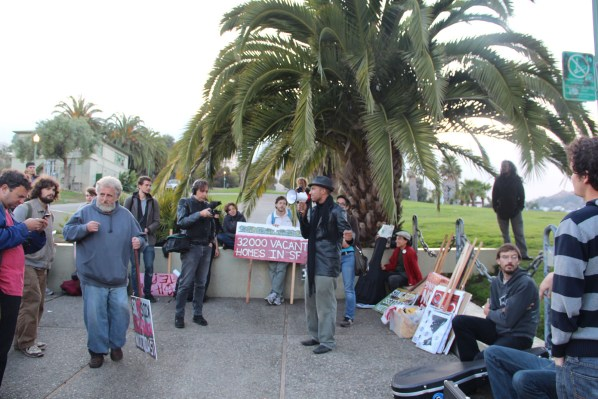Protesters gather in Dolores Park on Oct. 10 to support World Homeless Action Day. Photo by Carly Nairn.