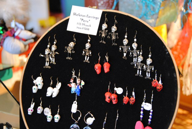 Image shows skeleton earrings