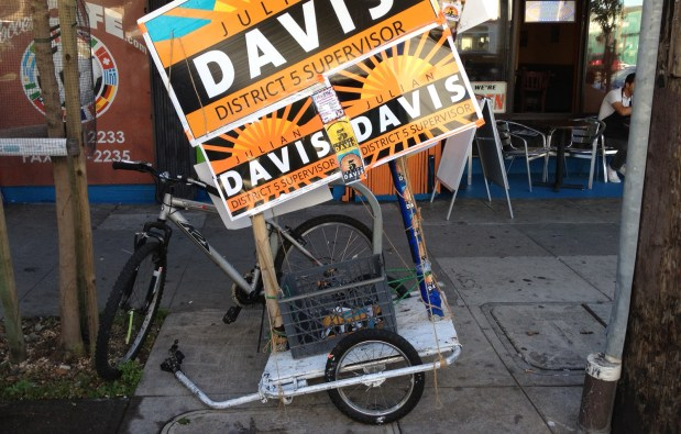 The Julian Davis campaign stumping by bicycle.