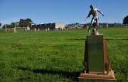 The CIFSF soccer title sits on the sideline as teams battle for 120 minutes that result in a 1-1 tie.