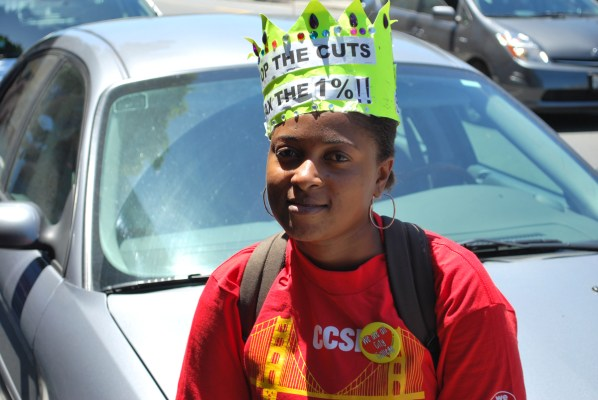 """""""Close the Gap"""" rally at City College of San Francisco May 20. Photo by Stevanie Wazna-Blank."""
