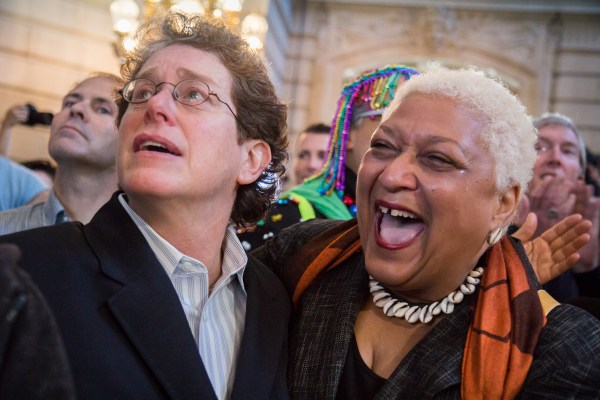 Diane Sabin and Jewelle Gomez celebrated the Prop. 8 and DOMA rulings at San Francisco's City Hall Wednesday. Photo by Marta Franco.