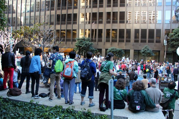 A huge crowd gathered in front of the U.S. Department of Education offices on Beale Street last month to protest the threat of CCSF's accreditation loss.