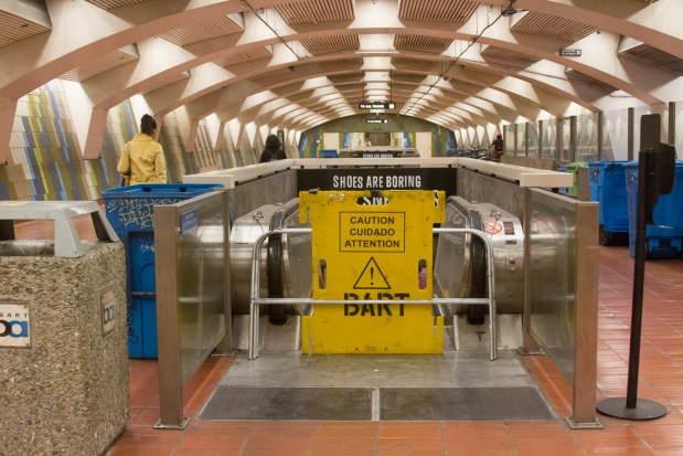 Closed entrance of the platform escalator at the 16th Street BART station. Photo by Courtney Quirin.