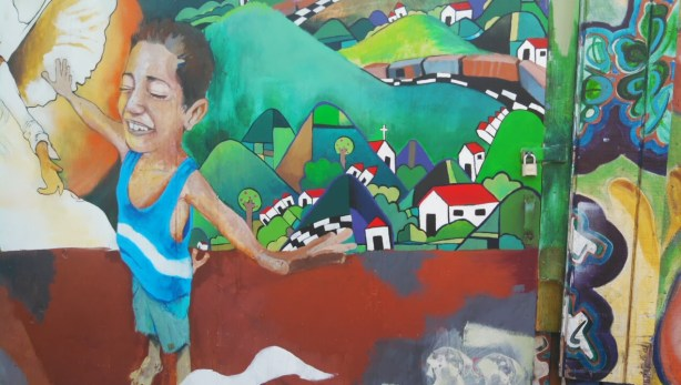 Mural based off of the book Enrique's Journey. Photo by Erica Hellerstein.