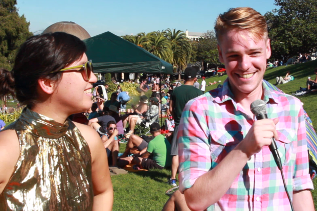 Two Dolores Park visitors sharing their most public secrets.