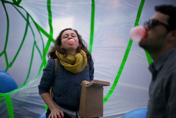 Sarah Sobel blows bubble gum in