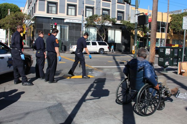At 10 a.m., a homeless man fell while crossing Mission Street, hitting his head against the curb. After paramedics loaded the man onto a gurney and took him to a local hospital, a SFPD officer used a portable water tank to wash blood off the crosswalk.
