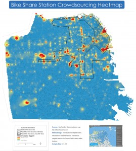 A heatmap of crowdsourced suggestions received since the Bay Area Bike Share launched on August 29, 2013. Map created by the SFMTA.