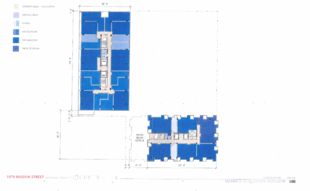 Floor plan of proposed redevelopment at 16th and Mission.