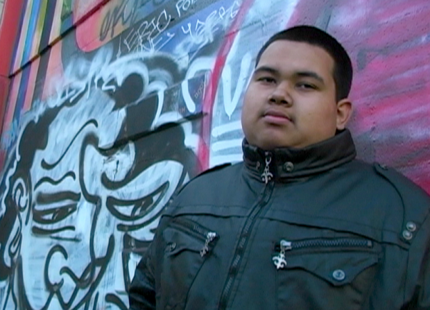 Cesar Bermudez in 2010 at the age of 16 posing during a Conscious Youth Media Crew video shoot.