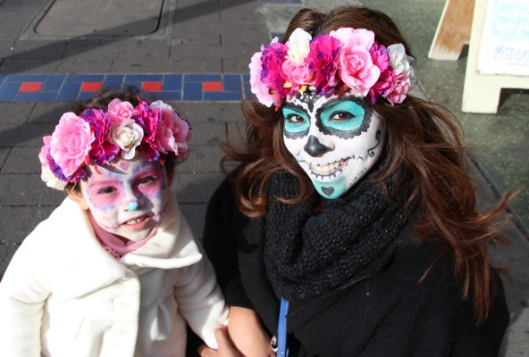 Luna (l) and Marisol Casillas visited from SSF to partake in the Dia de los Muertos festivities.