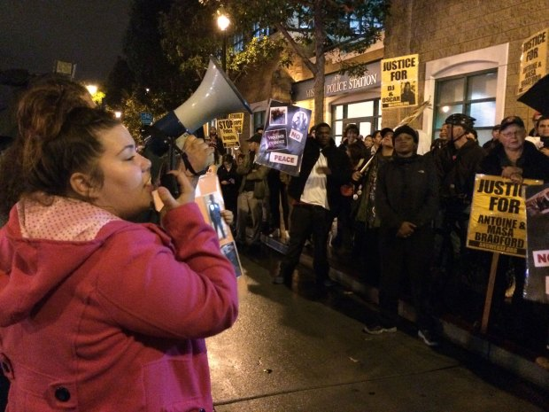 Protesters gather outside Mission Police Station to speak out against the events of last Friday at Valencia Gardens, when four men were arrested in 2013. Photo by Lynne Shallcross.