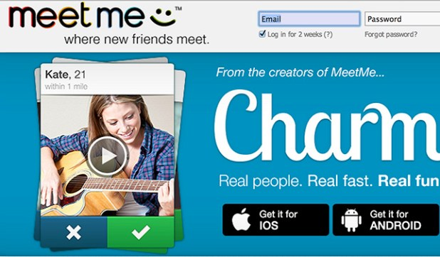 Screenshot of MeetMe's website.