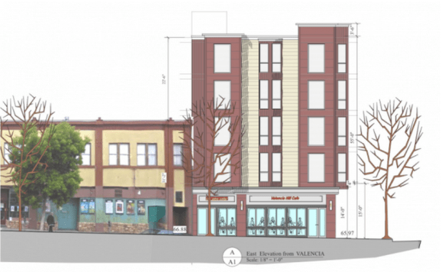 A rendering of the approved building  at 1050 Valencia. Courtesy of project architect Stephen Antonaros.