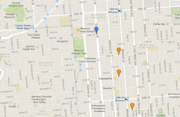 Legend: Blue = Friday, Orange = Saturday. Click Here for an Interactive Map