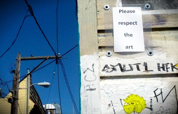 Sign posted on Clarion Alley.