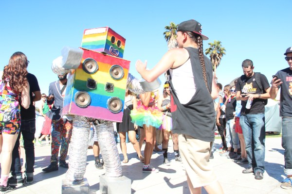 A robot danced with fellow Dyke March attendees in the center of Dolores Park. Photo by Leslie Nguyen-Okwu