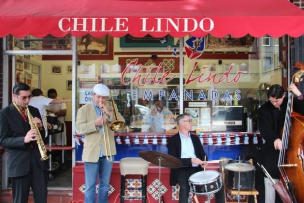 Rick Brown on trombone and Ulf Bjorkbom on drums. (Photo by Joe Rivano Barros)