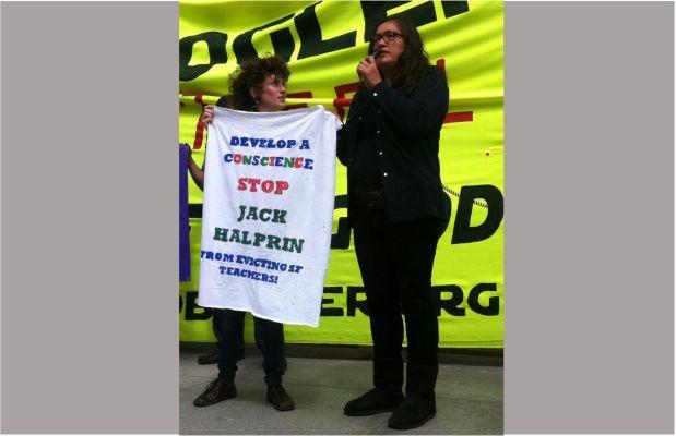 Claudia Tirado (right) speaks at protest outside of Google I/O. Photo by Leslie Nguyen Okwu.