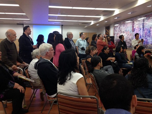Latino residents gather at City College on Valencia on a recent Saturday to discuss their history in San Francisco. Photo by Lydia Chávez