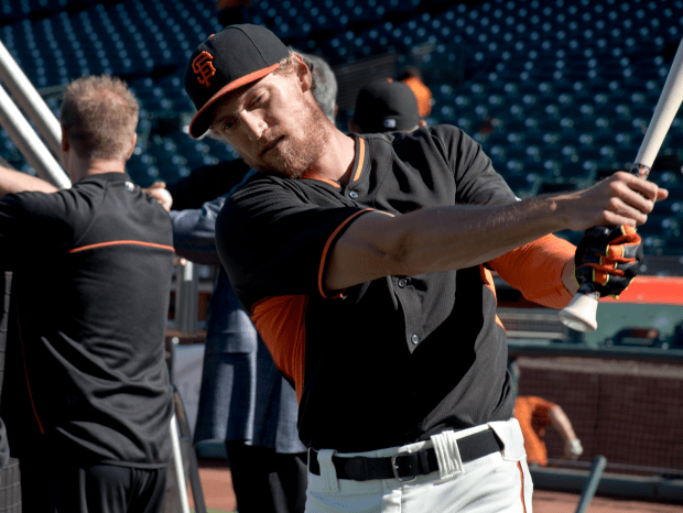 Hunter Pence locked in at batting practice. Photo by Lola Chávez