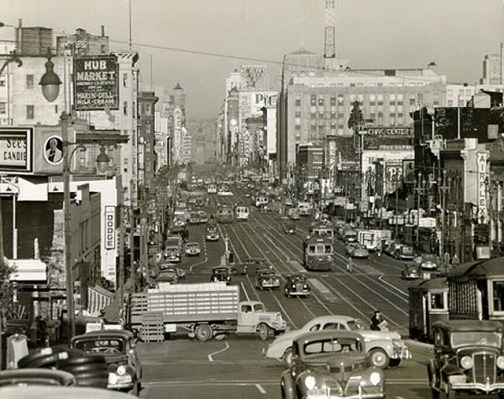 """The Market Street Hub Neighborhood before its decline in the 1940s when streetcar lines were replaced with buses, losing its status as a commercial and transit center. Photo courtesy of <a href=""""http://foundsf.org/index.php?title=Market_Street_Hub_Neighborhood/"""">FoundSF</a>"""