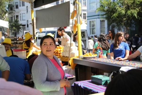 "Dilsa Lugo has been at the festival for six years (considered an ""original vendor"") and cooks Mexican food ""from family recipes."" She'll be opening Los Cilantros at La Peña Cultural Center in South Berkeley. Photo by Joe Rivano Barros."