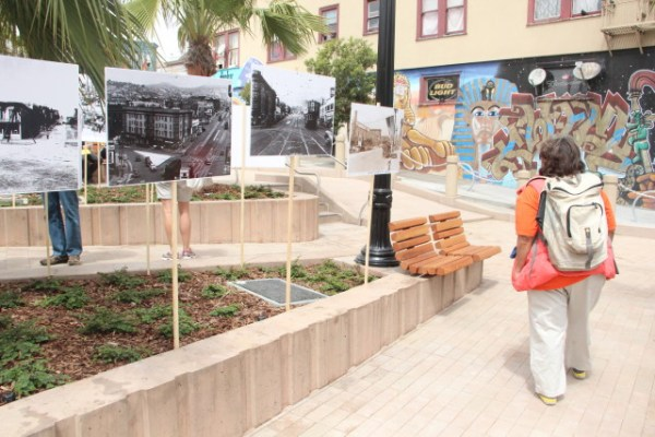 """""""I've seen a lot of changes. This right here was a drug hub, but [the project] is showing the community that it can be a family-friendly, people-friendly space,"""" said Vicky Anderson, who has lived near the plaza on Brady Street for 35 years. Photo by Leslie Nguyen-Okwu."""