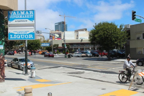 """Looking northwest from the plaza. """"You end up seeing the disintegration of the neighborhood that helped ferry people down towards and south of Market Street. This neighborhood is losing that identity,"""" said LisaRuth Elliot, co-director of Shaping SF. Photo by Leslie Nguyen-Okwu."""